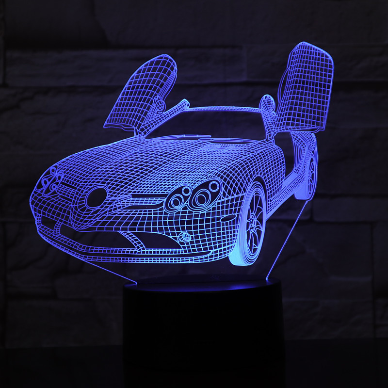 Super Sports Car 3D Night Light 7 Color Change  LED Night Light USB Smart Home Decoration Novelty Lamp Induction Table Lamp