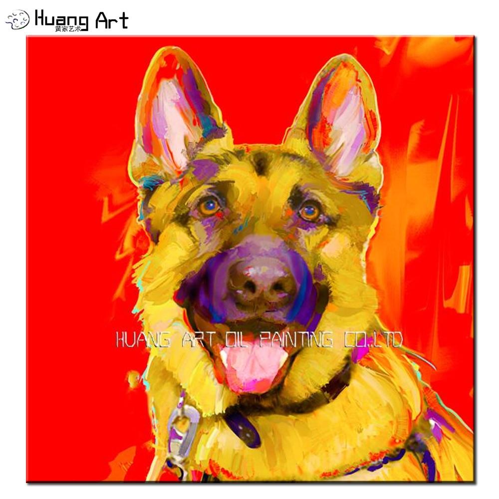 Ручная роспись Красный фон картина маслом на холсте желтая немецкая овчарка живопись для домашнего декора яркие цвета животные живопись