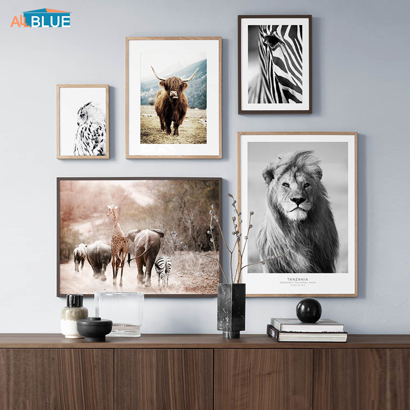 Lion Zebra Elephant Cow Nordic Animal Posters And Prints Wall Art Canvas Painting Decorative Pictures For Living Room Home Decor