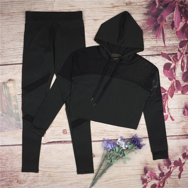 c1e6f65a7b497 Summer Outfit Sport Suit Women Brand Legging Running Ensemble Jogging Femme  Sets Patchwork See Through Sexy