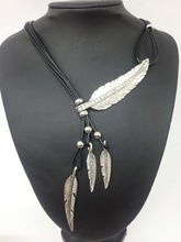 Leather Rope Pendant Long Necklace