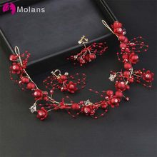 MOLANS One Set Classical Red Pearls Floral for Bridal Wedding Accessories Handmade Alloy Headbands with Ear Rings Female Jewelry(China)