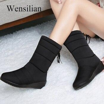 77c60f2ee Зимние сапоги, женские сапоги до середины икры, непромокаемые сапоги на  пуху, зимние сапоги, женская обувь с плюшевой стелькой, черные сапог.