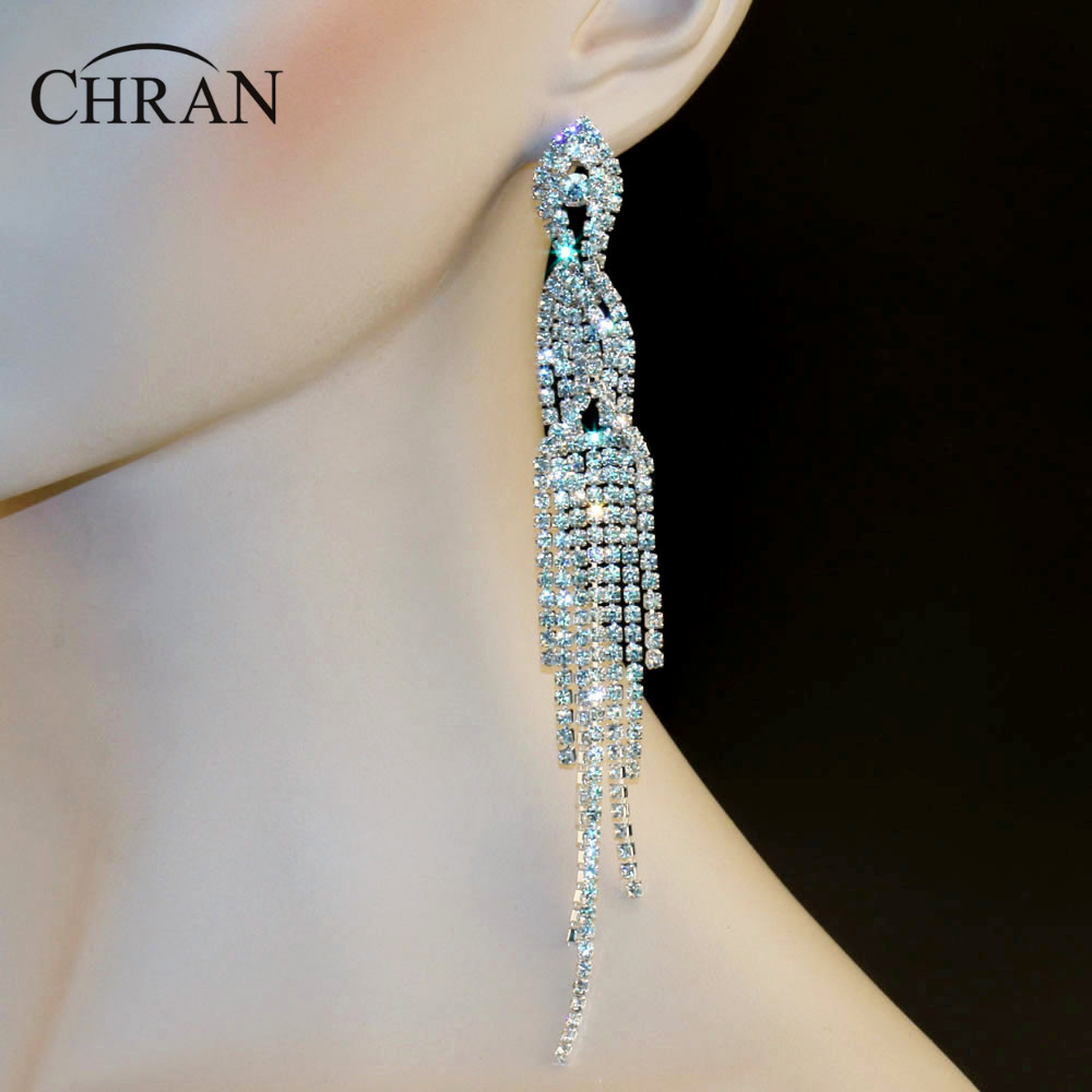 Chran Bridal Gold Color Clear Rhinestone Crystal Earings Wedding Prom  Dangle 61