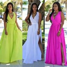 Женское однотонное летнее пляжное длинное платье в стиле бохо
