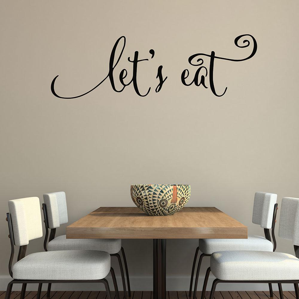 ツ)_/¯Wall Quotes Decals Let\'s Eat Kitchen Quotes Stickers Dining ...