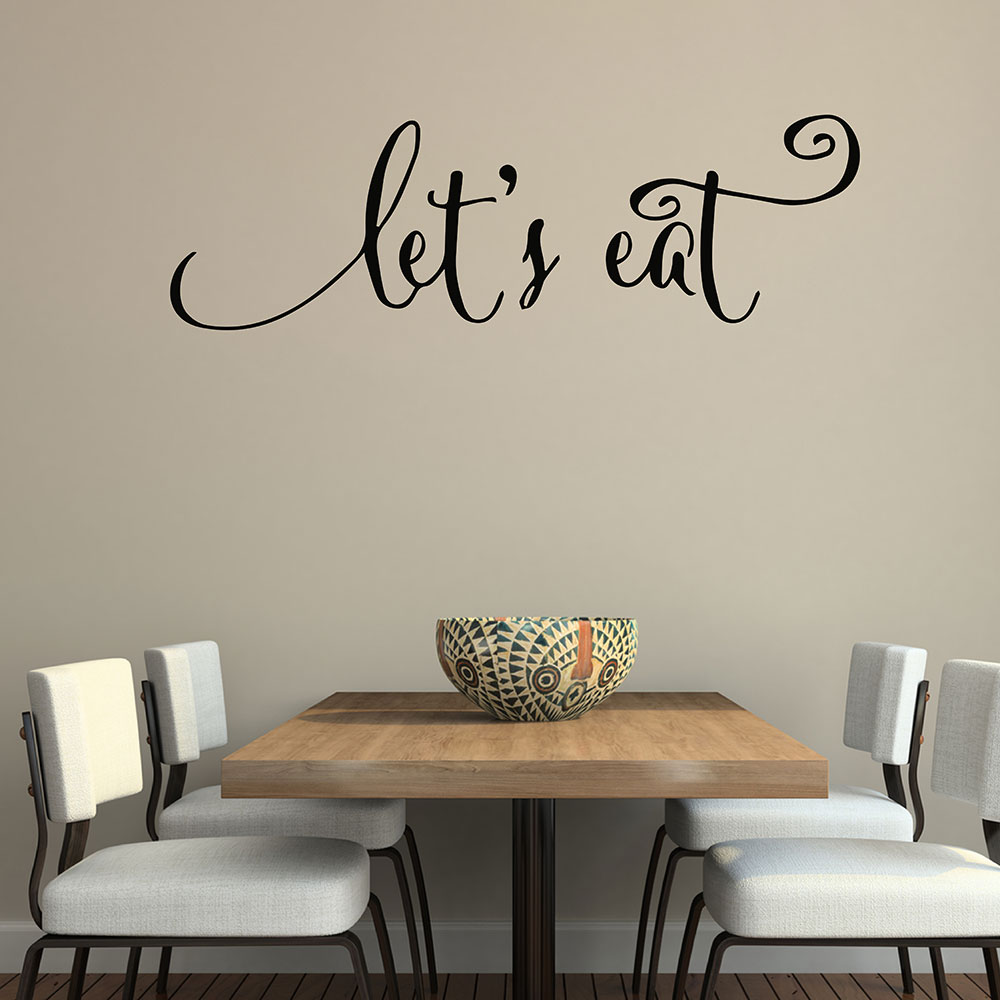 Wall Quotes Decals Lets Eat Kitchen Quotes Stickers Dining Room Wall Decals Vinyl Decal Family Lettering Wall Arts 640Q