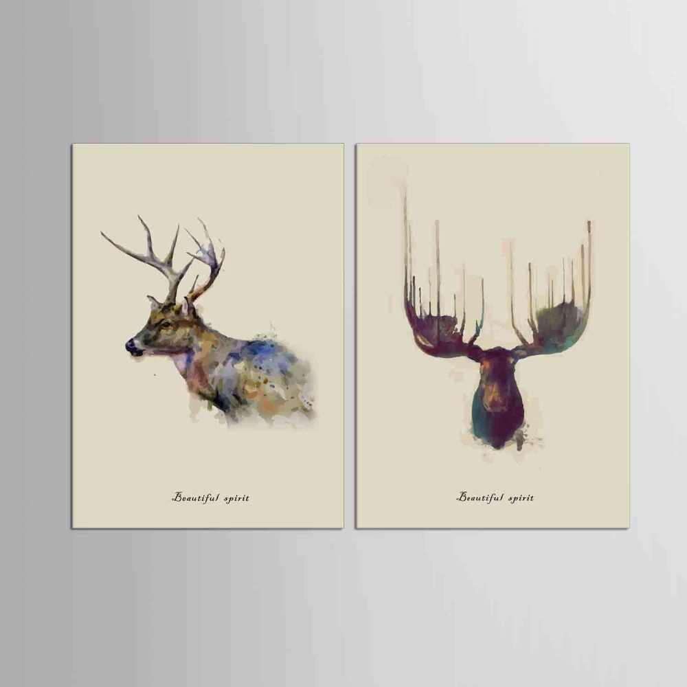 2 Panel  New Design Art Deer Head Painting Canvas Print Europe Wall Picture  Elk Home Decor