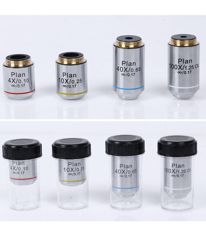 Professional Full Set 4X 10X 40X 100X Achromatic Plan Infinity Objective Lens 195mm Biological Microscope Objective Lens