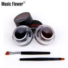 Music Flower 2pcs Eye Makeup set black gel eyeliner+brown eyeliner Gel Cream With Brush 2 In 1 Water-proof Liner Kit Cosmetics недорого