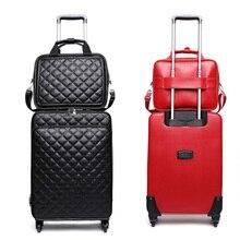 Ретро полиуретановый багаж на колёсиках, набор для женщин, чехол на колесиках/сумка, 24 дюйма, дорожный костюм, чехол, набор колес для мужчин, 20 дюймов, сумка для путешествий