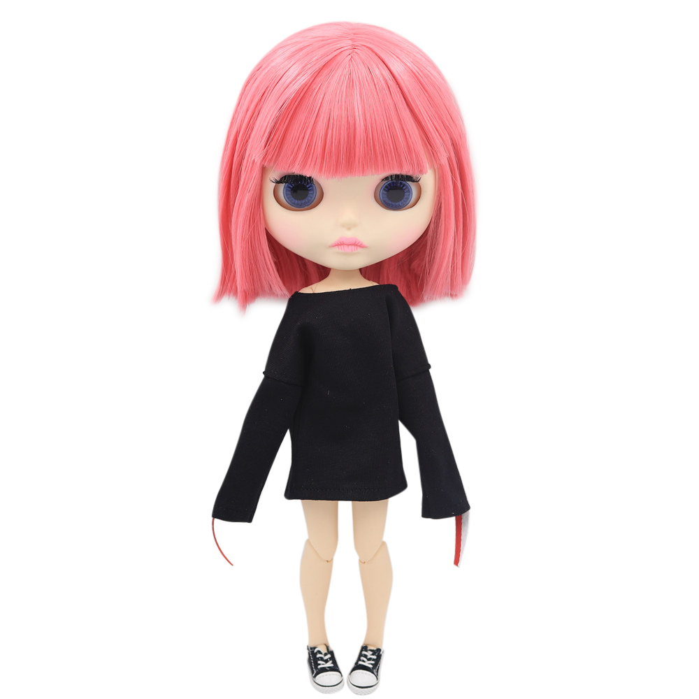 ICY Nude Blyth Doll For Series No BL2476 Joint body Pink hair Carved lips Matte face