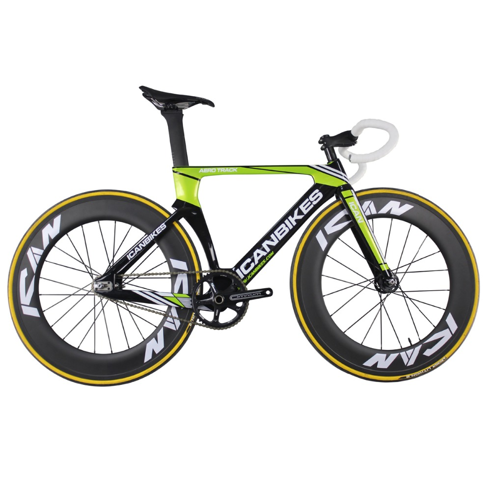 ICAN Super Light 6.98kg Carbon Track Bike Aero Completed Track Bicycle Full Carbon Bikes Fixed Gear Bike AC135
