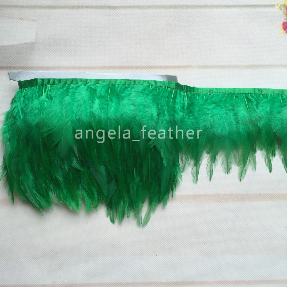 Free Shipping- 10yards a lot Dark Green Rooster tail Feather Trimming Fringe on Satin Header 4-6inch in width for sewing