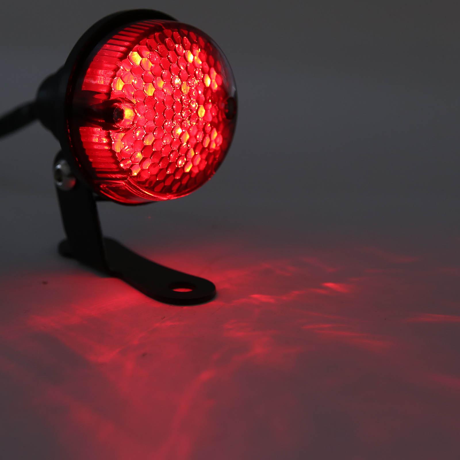Hohe Qualität Motorrad Rote LED Licht Universal Schwarz Runde Motorrad Hinten Kennzeichen Licht DC 12V