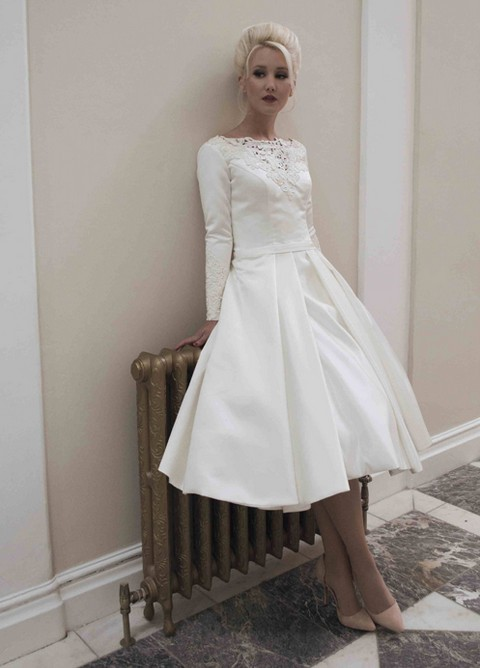 long sleeve short wedding dress 2014 new custom size white ivory scoop neckline 5588