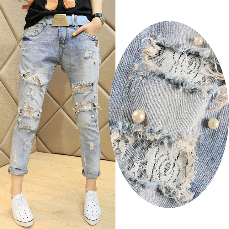 Hole Jeans Woman's New Korean Style Light Blue Spring Summer Denim Pants Female Students Slim Lace Bead Hole Jeans Streetwear