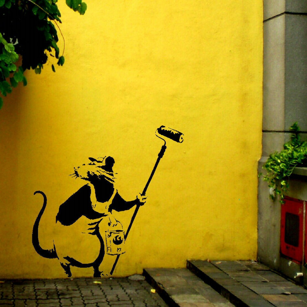 Wall Stencil Art banksy rat paint roller pole wall art sticker stencil transfer