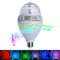 Oobest Dimmable E27 5W RGB LED Bulb Bluetooth Lamp Color Changing Adjustable Speaker Auto Rotation Music