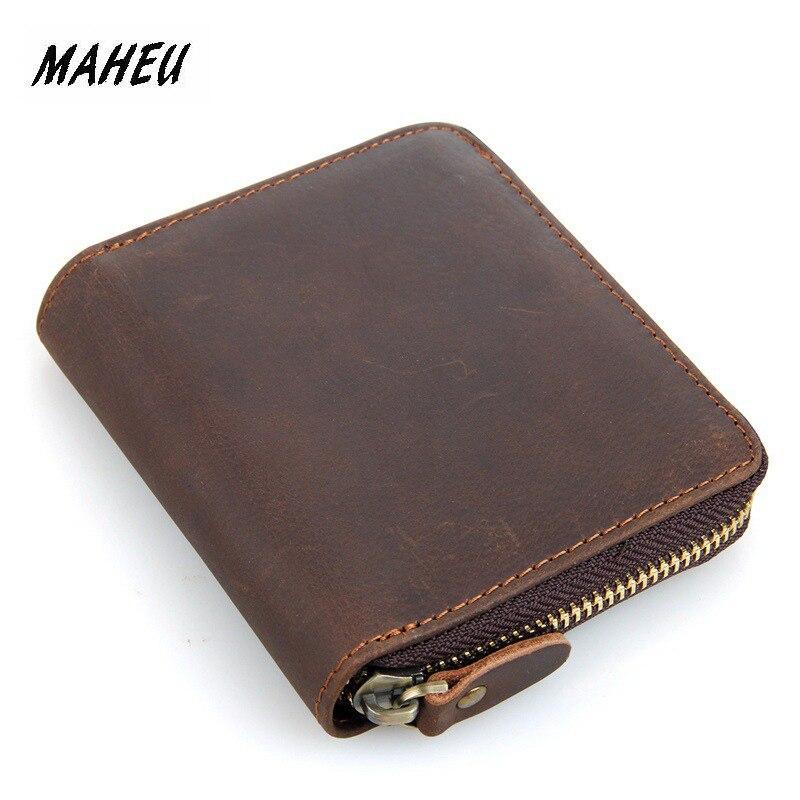MAHEU Top Qaulity 100% CowSkin Leather Coin Wallet Zip Men Women Girls Short Wallet Purse Zipper Brown Small Wallet