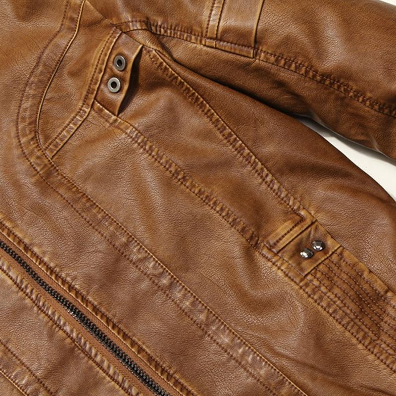 DHfinery invierno chaqueta de cuero de los hombres de pie delgado - Ropa de hombre - foto 5