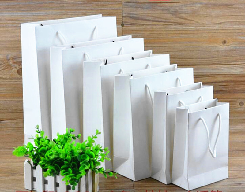 Small white Shopping bag 12*6*10cm, 75pcs kraft paper bag packing for clothes/shoes/wigs/cosmetics, Customized gift bags design