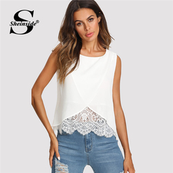 Sheinside Lace Insert Wrap Front Top Women White Round Neck Wrap Plain Vest 2018 Summer Regular Fit Sleeveless Casual Tank