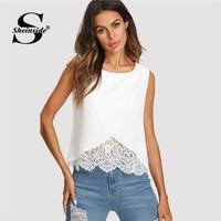 Sheinside Lace Insert Wrap Front Top Women White Round Neck Wrap Plain Vest 2018 Summer Regular