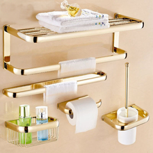 Luxury Gold Brass Finish Bathroom Accessories Set,Paper Holder,Towel Bar,Soap Basket,Toilet Brush Holder,Bathroom Sets ZD1131 free shipping solid brass bathroom accessories set robe hook paper holder towel bar soap basket bathroom sets yt 12200 a