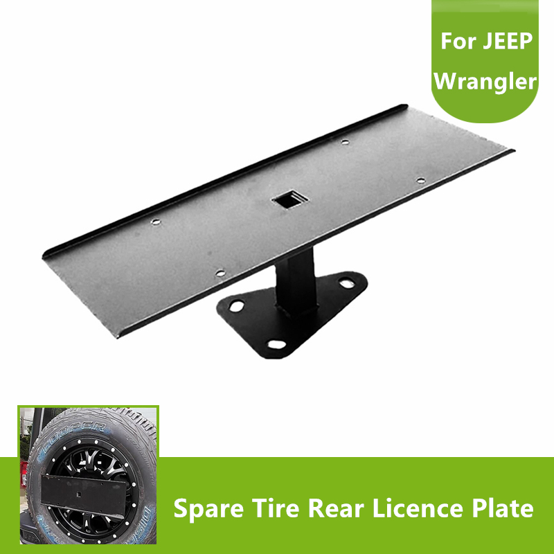 High Quality Stainless Steel Black Spare Tire License Plate Mount Bracket for Jeep Wrangler JK 2007-2017High Quality Stainless Steel Black Spare Tire License Plate Mount Bracket for Jeep Wrangler JK 2007-2017