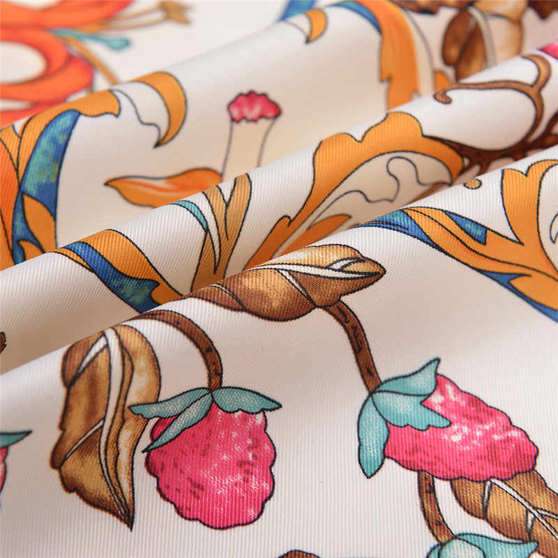 3324f98277f05 ... POBING Luxury Brand Silk Scarf Women Sky Lucky Birds Nest Print Square  Scarves Life Tree Large ...
