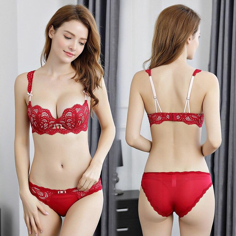 Buy OranriTing Shell Shape Sexy Lingerie Set Gathering Lace Underwear Women Adjustable Push Bra Set ABC Cup Padded Intimates