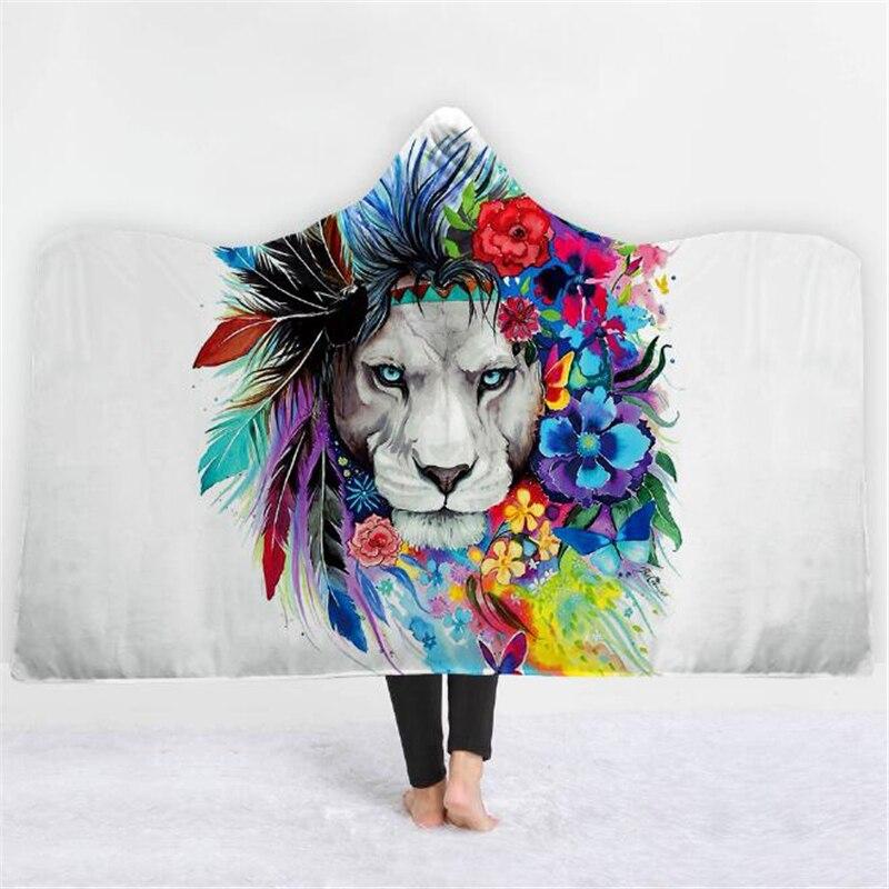 3D Lion Gedruckt Pixie Kalte Kunst Mit Kapuze Decke für Erwachsene Kid Warm Tragbare Fleece Frau Werfen Decken Mikrofaser Mantel auf sofa