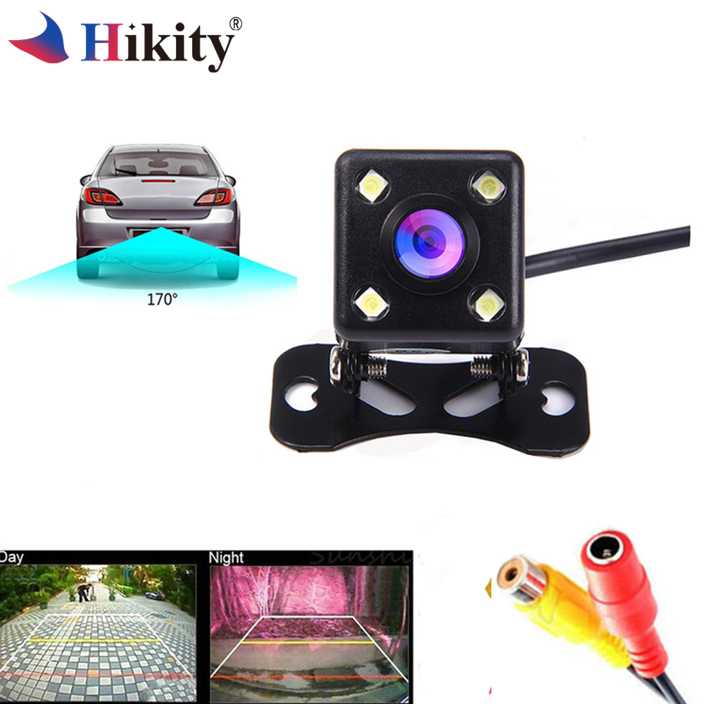 Hikity Auto Videocamera vista posteriore Universale di Backup Telecamera di Parcheggio 4 LED di Visione Notturna Impermeabile 170 Ampio Angolo di Immagine Telecamera per la Retromarcia