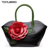 Fashion tote bags for women bag genuine leather handbag quality handmade dimensional flowers Ladies Brand bolsa feminina saco