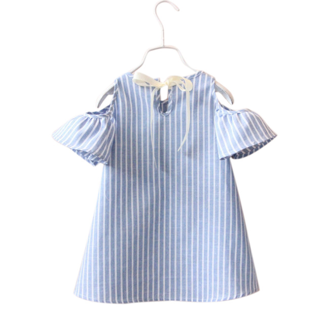 2017 Blue Stripe Summer Children Kids Baby Girls Dress Cotton Casual Short Sleeve Striped Off Shoulder Blouses For Girls BM88