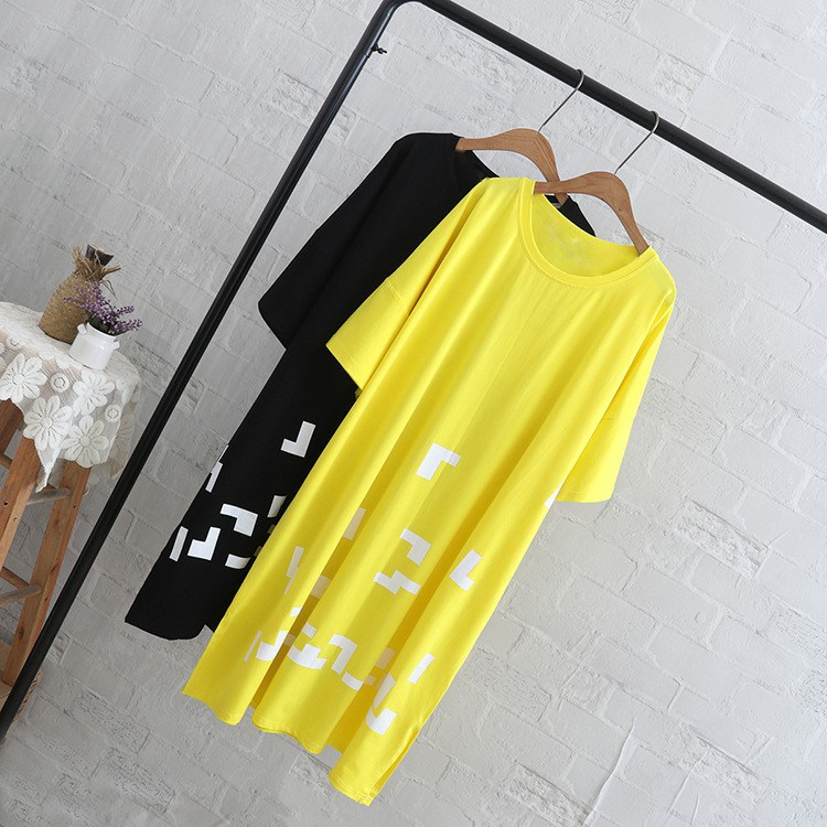Plus Size Tops Tees Women Casual Short Sleeve Long Style T Shirt O Neck Black Yellow T Shirt