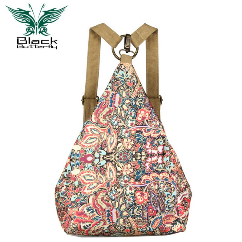 Black Butterfly original design ethnic style Women Shoulder Bag Bohemian style Printing backpack Women travel bag ethnic style v neck embroidered button design women s dress