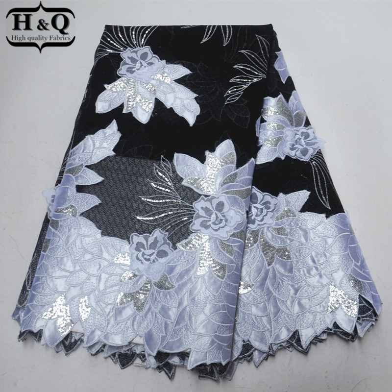White And Black African Organza Lace Fabric With Sequins 3D Applique Lace African Embroidery Lace Fabric