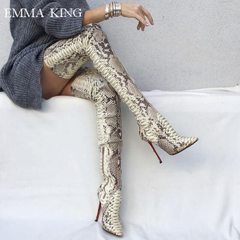 Winter European and American Print Snake Over the Knee Boots Sexy Women Shoes Pointed Toe High Heels Night club Stage Boots