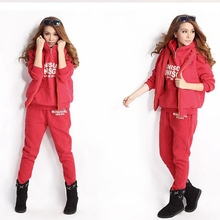 CFYH 2017 Winter Ladies Hoody Thickening Sportswear Set Solid Pocket Women's Casual Tracksuits Track Suit Women Clothing Set