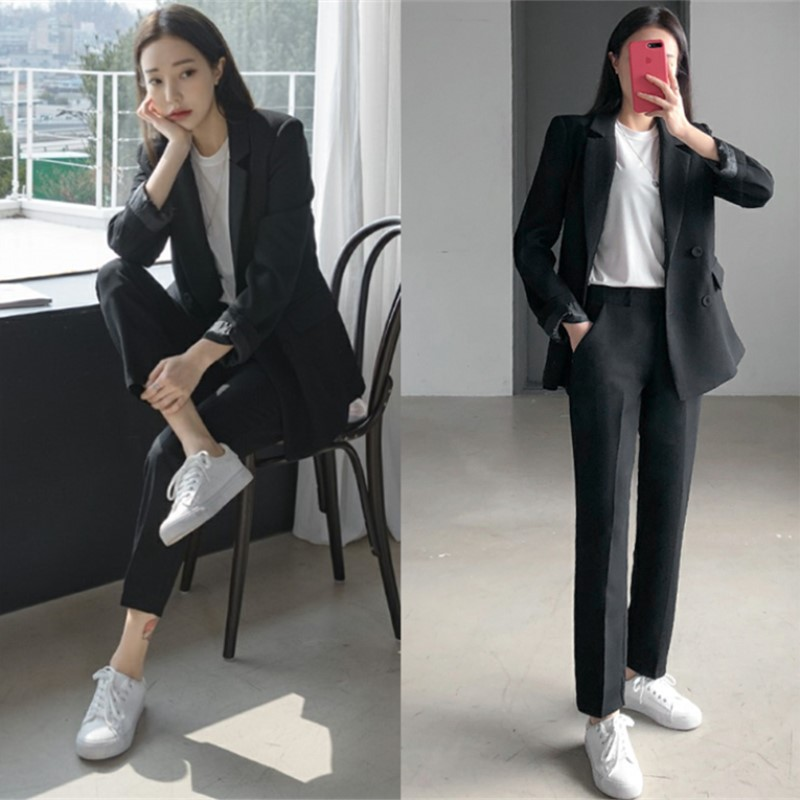 Women's Business Suits Fashion Long Sleeve Black Blazer Casual Ladies Suit Pants Set 2019 Winter New Style High Quality