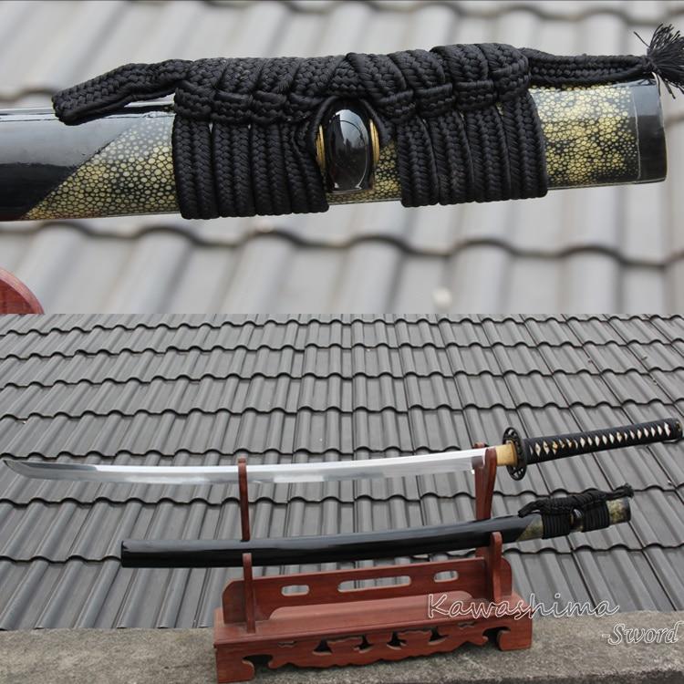 Käsitsi valmistatud jaapani katana päris mõõk Kobuse lamineeritud volditud terasest saviterminal Hamoni teravus lahingu jaoks valmis