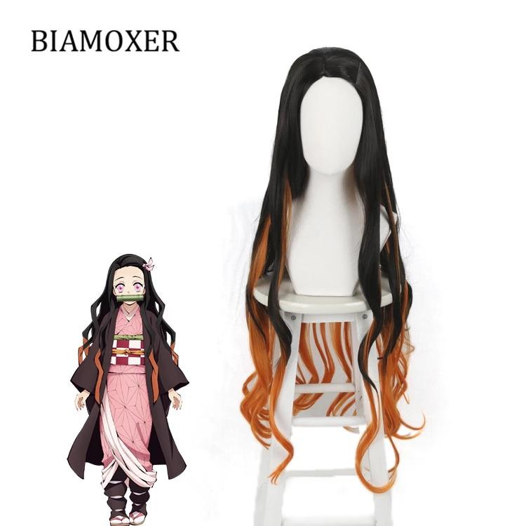 Demon Slayer kimetsu no Yaiba nezuko Kamado cosplay perruque de cheveux épingle à cheveux Oni Ver