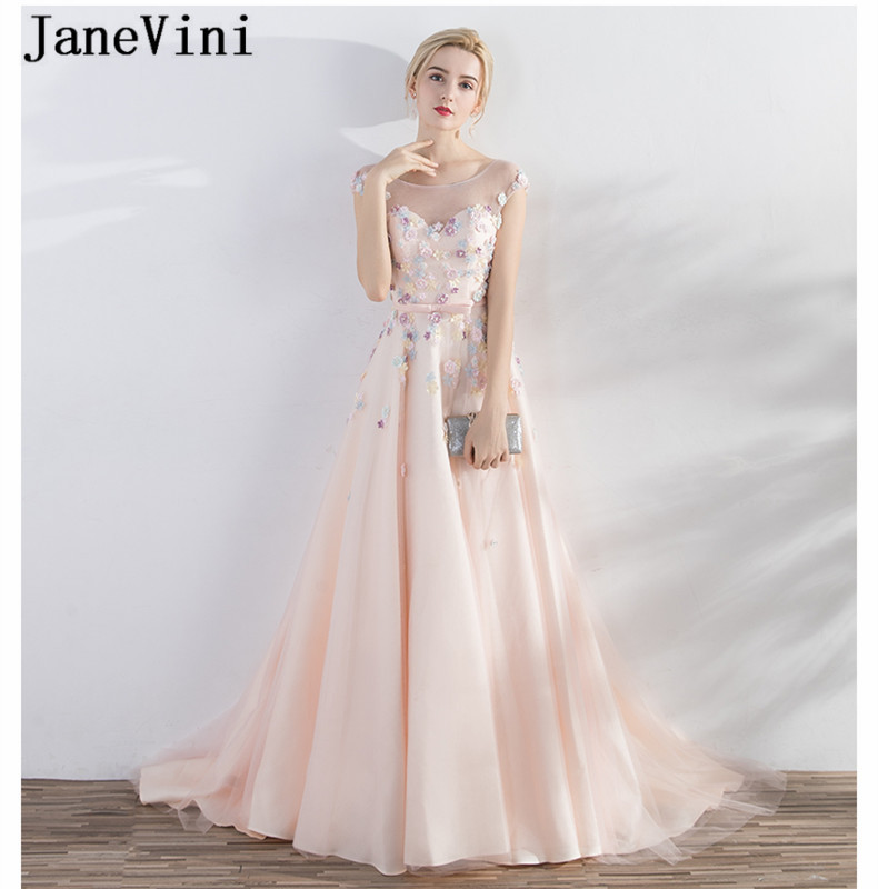 JaneVini Sexy Backless Satin Tulle Mother Of The Bride Dresses For Wedding A Line Nude Pink Handmade Flowers Evening Party Dress