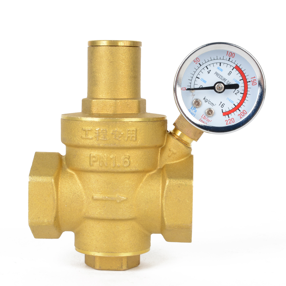 Adjustable DN15 NPT Water Reducing Valve 1 2 Brass Pressure Gauge Regulator Valves With Gauge Meter