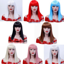 Straight Hair With Bangs Black Brown Blonde Wigs For Women Synthetic Cosplay Party Halloween Wig Heat Resistant JINKAILI(China)