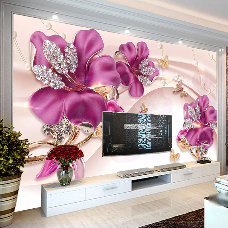 Custom Mural Wall Paper 3D Stereoscopic Flower Jewelry Living Room TV Background Wall Decorative Wall Painting Photo Wallpaper