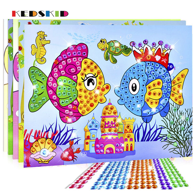 DIY 3D Creative Painting Toys Plastic Crystal Diamond Handcrafts Supplies For Kindergarten Kids Toys
