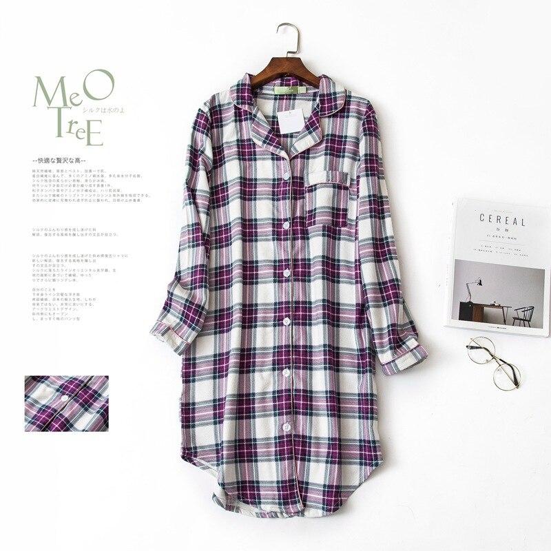 Women Purple Grid Sleepwear Plus Size   Nightgowns   Long Sleeved Cotton Flannel   Sleepshirts   Ladies Nightdress Femme Homewear